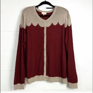 ModCloth burgundy and cream scalloped cardigan